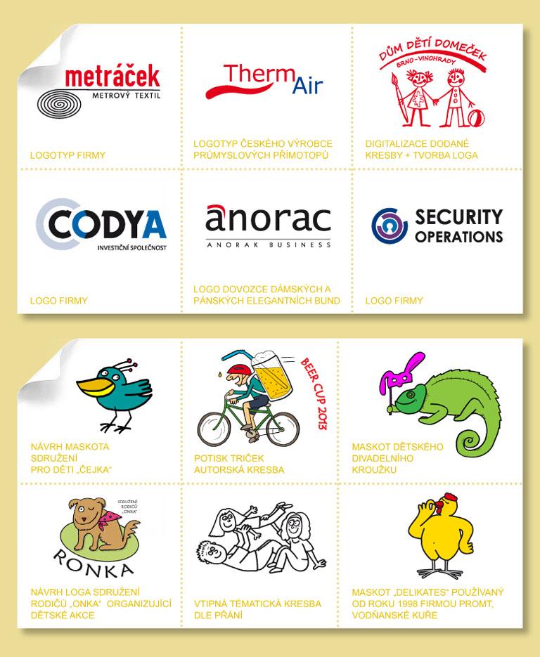 ukázky prací: logotypy | digitalizace | kresba