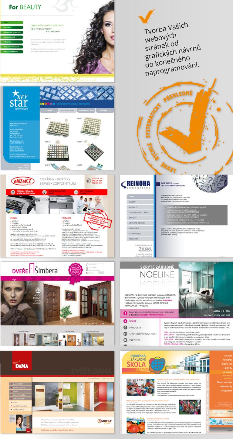 ukázky prací: výroba webových prezentací